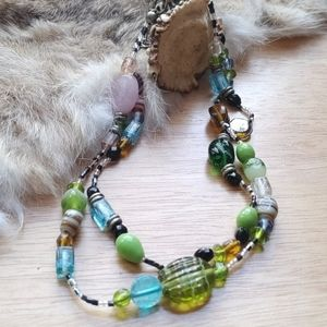 Two strand art glass lampwork necklace